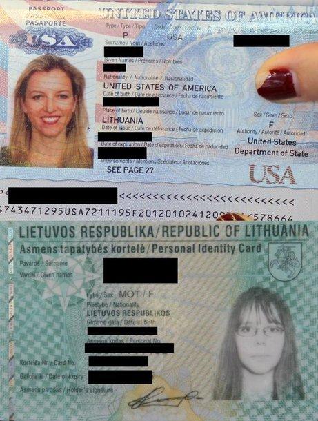 Amerikietiško paso ir lietuviškos asmens taptaybės kortelės pavyzdžiai