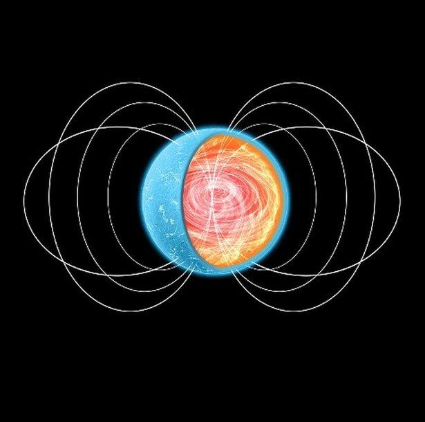 Dailininko pavaizduota neutroninė žvaigždė. Makaroninės materijos sluoksnis turėtų būti vidiniame plutos sluoksnyje, prie pat branduolio
