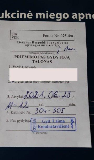 Talonas pas gydytoją ligonei paskirtas po dvejų metų.