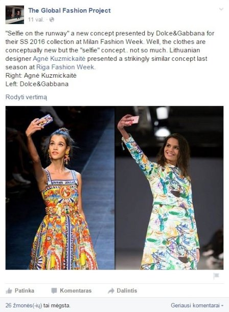 """""""The Global Fashion Project"""" įrašas """"Facebook"""" tinkle"""