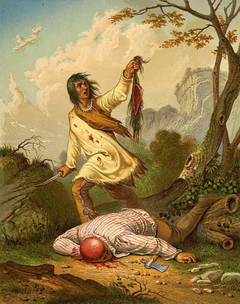 Skalpavimą vaizduojantis piešinys, sukurtas apie 1850 m.