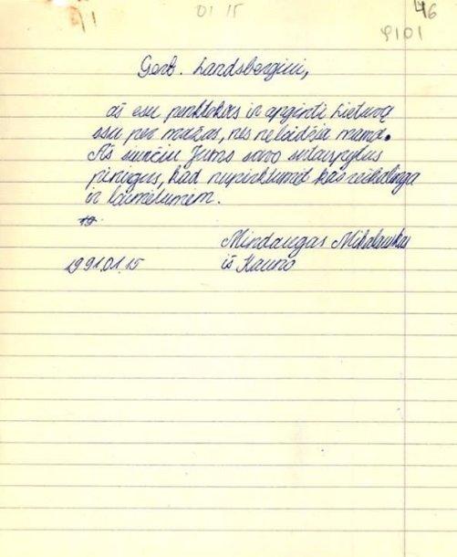 Mindaugo M. laiškas Vytautui Landsbergiui