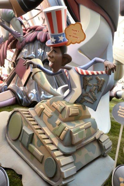 JAV prezidento Baracko Obamos satyrinė skulptūra Faljaso festivalyje