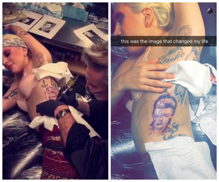 Gausią Lady Gagos tatuiruočių kolekciją papildė Davido Bowie portretas