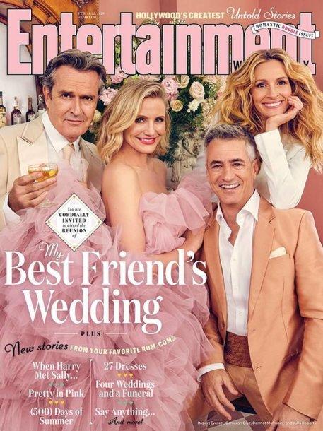 """Filmo """"Mano geriausio draugo vestuvės"""" aktoriai: Rupertas Everettas, Cameron Diaz, Dermotas Mulroney ir Julia Roberts"""