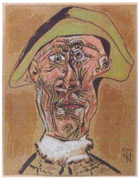 """Pablo Picasso paveikslas """"Arlekino galva"""""""